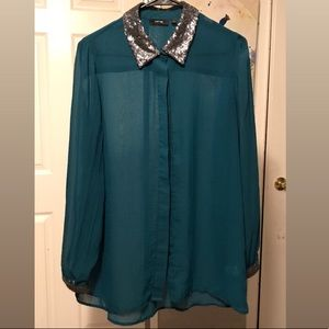 Apt 9 Turquoise Sheer Button-Down w/ Sequins